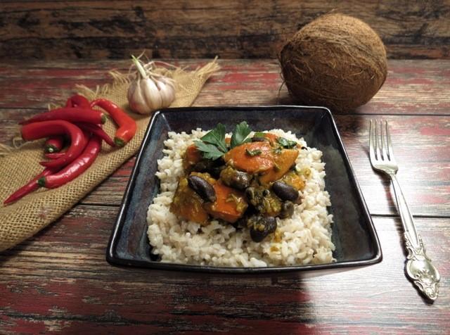 Curry z dyni i czerwonej fasoli